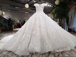 New Luxurious Arabic Lace Crystal Beading Flower Ruffle Wedding