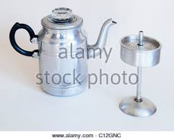 Old Fashioned Coffee Maker An Aluminium Percolator As Used In The 1940s 1950s On A White Background Opened