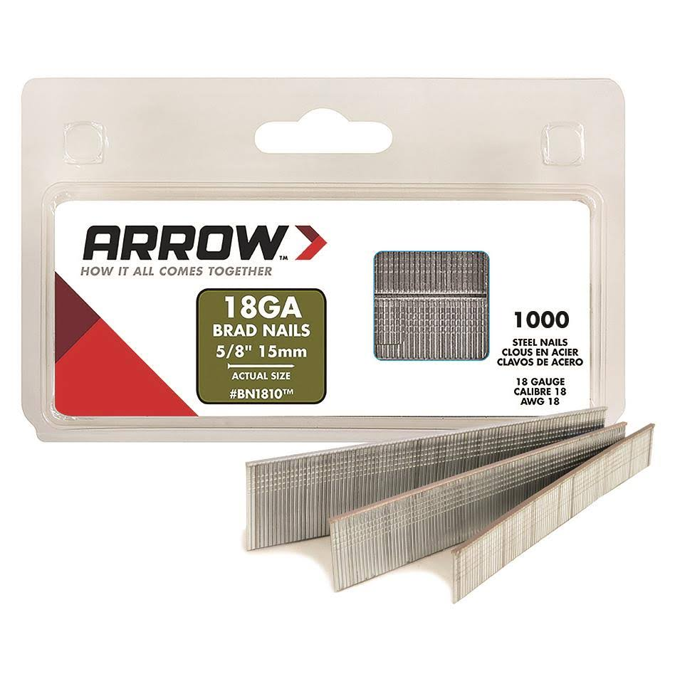 "Arrow Fastener Brown Brad Nails - 5/8"", 1000 Pack"