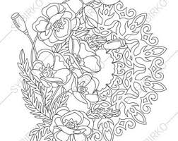 5 Coloring Pages Poppy Flowers Mandalas Zentangle Doodle Book For Adults