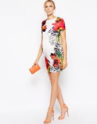 asos exclusive textured bodycon dress in multi mirror floral print