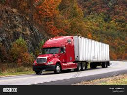 PowerPoint Template: 18 Wheeler - Red Semi-truck And Trailer (zggcxa)