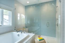 boy bathroom with blue hex wall tiles transitional bathroom