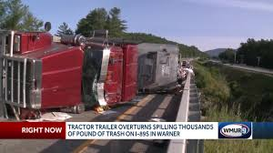100 Warner Truck Center Tractor Trailer Carrying 60000 Lbs Of Garbage Rolls Over