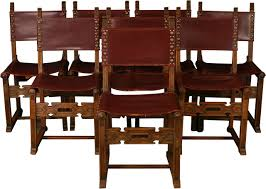 Set 8 Vintage Dining Chairs Spanish Mission 1930 Carved Oak Brown Leather
