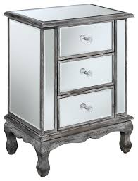 Coast Vineyard 3 Drawer Mirrored End Table Traditional Side