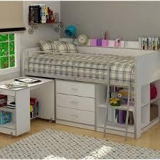 bedroom large floating desk twin size bed over bunk wood loft