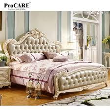 luxus europäischen und amerikanischen stil schlafzimmer möbel könig größe massivholz leder bett procare