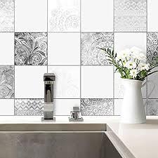 fliesenaufkleber bohemian fliesen sticker aufkleber selbstklebend kacheln bad küche wanddeko ornament schwarz weiß wall 20x25 cm 20 er set