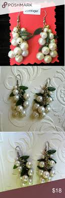 100 Indego Pearl Vintage Grape Drop Cluster Earrings Presenting A Beautiful