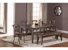 Hillsdale Furniture Lorient 6 Piece Rectangle Dining Set With X Back Chair And Bench
