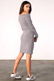 memdalet long sleeve casual jersey mini dress grey 59