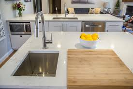 Delta Trinsic Kitchen Faucet Champagne Bronze by Zodiac London Sky Quartz Countertops Kraus Sink Delta Faucet