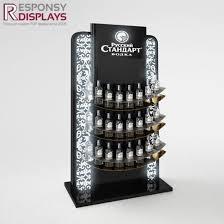 Customized Wood Floor Beer Display Stand Wine Shelf