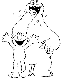 Cookie Monster And Elmo Coloring Pages
