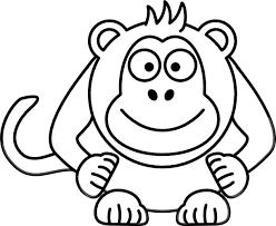 This Coloring Page For Kids Features A Front On Picture Of Cute Monkey With
