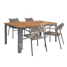 Garden Furniture Set GREENWOOD Table And 4 Chairs (21222) Table Top:  Bamboo, Legs And Frame: Aluminum, Color: Dark Grey
