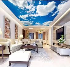 wohnzimmer schlafzimmer decke hintergrund tapete 3d wandbild einfache und schöne blau himmel und weiße wolken decke wandmalereien