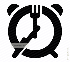 Vector Icon Of Fork And Knife As Hands Alarm Clock