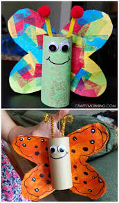 Rhcom Cardboard Childrens Summer Craft Projects Tube Butterfly For Kids To Make Perfect Spring