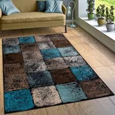 designer teppich karo türkis braun creme teppich