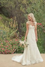 Simple Country Wedding Dress With Cap Sleeves