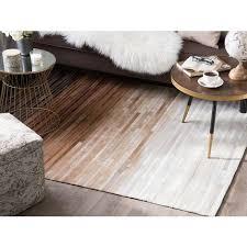 teppich braun beige schwarz echtleder 160 x 230 cm kurzflor ombre design handgefertigt rechteckig