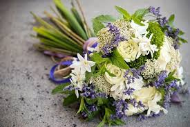 Purple Heather Wedding Flowers White Roses And Bouquets