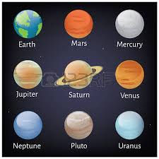 Vector Illustration Solar System Planets Icons White Background
