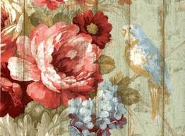 Bird Rose French Cottage Floral Victorian Wallpaper HA1326