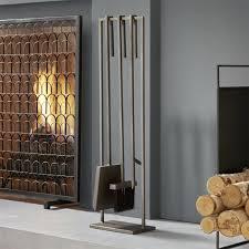 3 piece gunmetal iron fireplace tool set