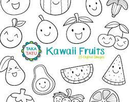 Kawaii Fruits Digital Stamp Black and White Clipart Kawaii Fruits Fruit Printable
