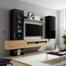 design wohnwand in hochglanz schwarz mit eiche hell chur 61 mit beleuc