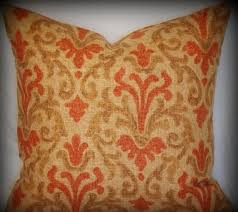 Rustic Chebon Pillow Graphic Print Scroll Damask Red Brown Rust Cover 18x18inch