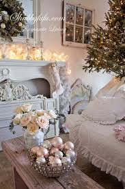 This Shabby Chic Living Room Decorated For Christmas Is Stunning A Simple Tree Glass Ornament Decor Lit Up Mantel Just Put Us In The
