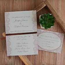 Vintage Lace Elegant Ribbon Double Printing Wedding Invitations EWI401