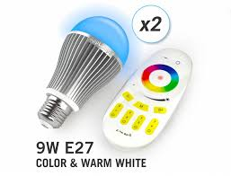 appl set of 2 wireless multicolor rgbw 9w led bulbs remote