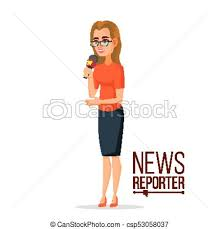 Journalist Woman Tv Reporter Presenting News Outside Broadcasting Cartoon