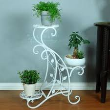 Fashion Wrought Iron Floor Multi Layer Flower White Balcony Indoor Pot Holder