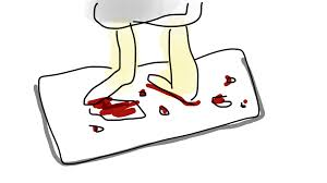 press bloody bath mat