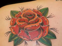 Upper Back Shoulder Rose Tattoo