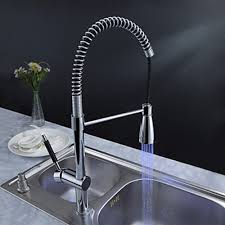 brass transitional kitchen faucet with color changing led light at