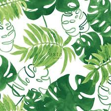 138887 HD Non Woven Wallpaper Painted Tropical Jungle Leaves Green