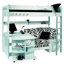 bunk beds with desk and couch