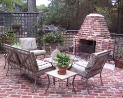 Outdoor brick fireplace traditional patio