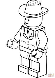 Lego Man Coloring Page In Cowboy Hat Free Printable Pages To Download