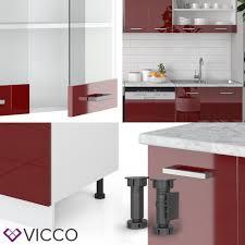 vicco küche r line 300cm bordeaux hochglanz