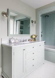 Tiling A Bathtub Alcove by Blue Subway Tiles Bathtub And Shower Tiles Transitional Bathroom