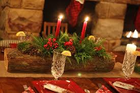 Christmas Table Centerpiece Rustic Dining Decor Red Candle