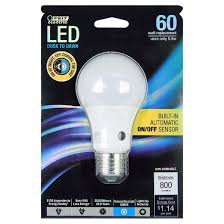 feit a19 60 watt led dusk to sensor light bulb 5000k soft